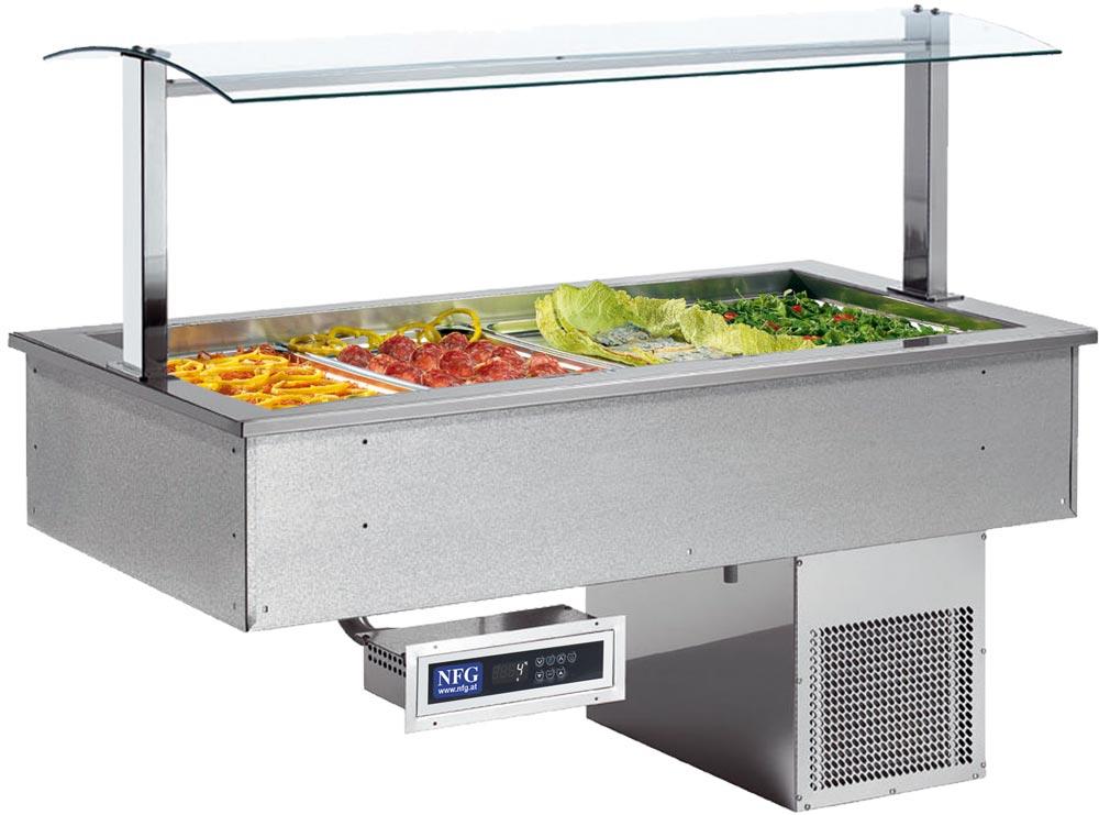 NFG Einbau Buffet Einbaugerät Kalt SOUL Green 4 mit Hustenschutz Saltbuffet kalt warm Kühlwanne