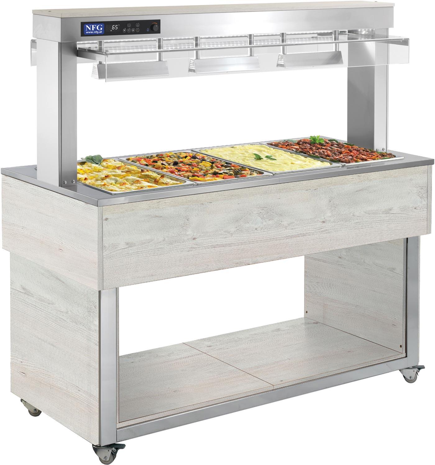 NFG Warm Bain Marie TR-RED 4 Buffet Einrichtung Geräte Kalt Salatbuffet Ausgabe