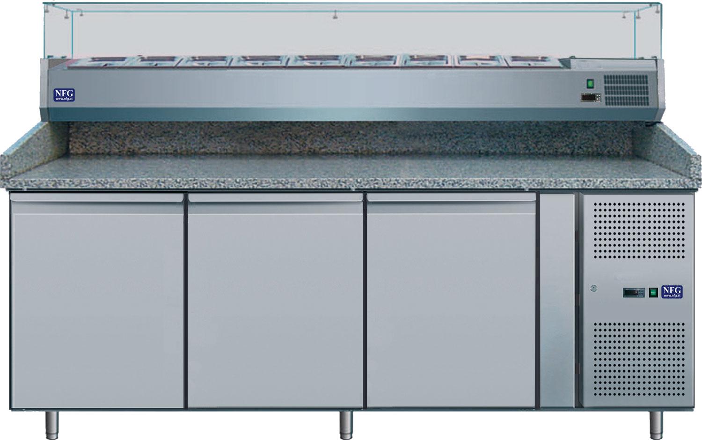 NFG Pizzakühltisch und Pizzatisch PKT mit Granitarbeitsplatte und Aufsatzvitrine