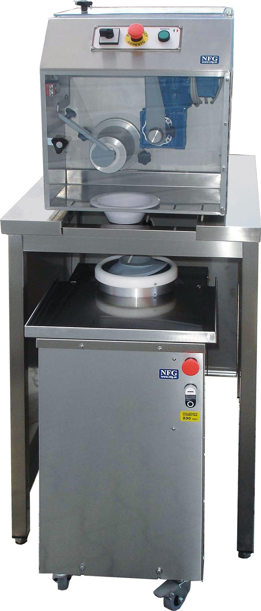 NFG Vorbereitung und Teigwarengeräte Teigportioniermaschine und Abrundmaschine Kombination PGT-PORT300+ABRU300+UNTERG