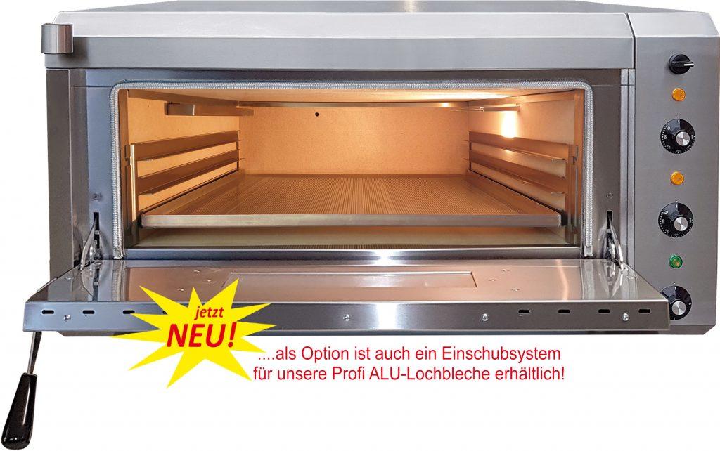 NFG Brotbackofen NBO 4 und Elektro Steinbackofen mit abnehmbaren Einschubsystem mit Beschriftung