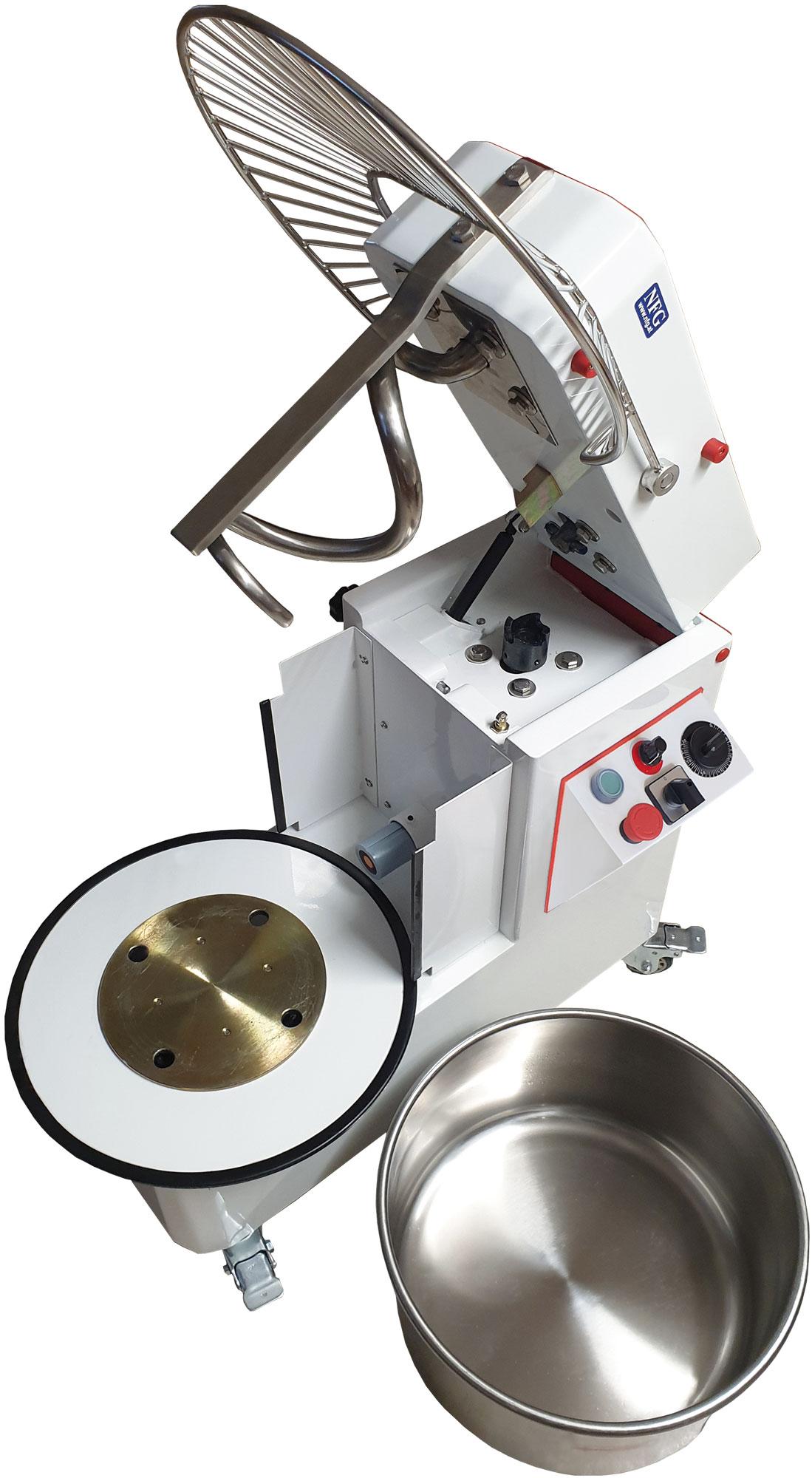 NFG Knetmaschine KM..K/VS mit stufenlos verstellbarer Geschwindigkeit Kopf aufklappbar und Teigschüssel Kessel abnehmbar